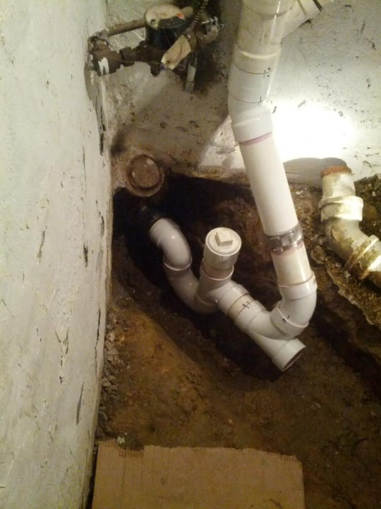 Replaced old cast iron house trap & sewer line in basement with new PVC house trap & sewer line in York, PA