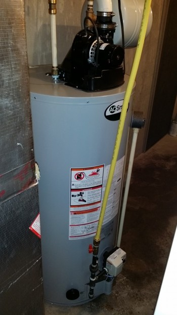 Power vent hot water heater installation